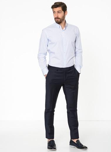 Daffari Desenli Uzun Kollu Gömlek Beyaz